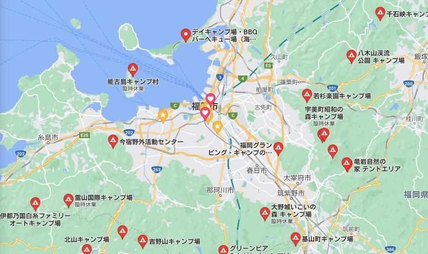 福岡市周辺のキャンプ場
